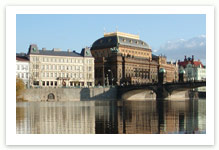 The river Vltava with National Theatre